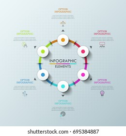 Round chart with 6 elements, arrows pointing at thin line symbols and text boxes. Concept of drop-down menu for web or mobile application. Modern infographic design template. Vector illustration.