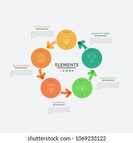 Round chart, five colorful circular elements with linear icons inside connected by arrows. Concept of 5-stepped cyclic process visualization. Infographic design template. Vector illustration.