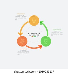 Round chart, three colorful circular elements with linear icons inside connected by arrows. Concept of 3-stepped cyclic process visualization. Infographic design template. Vector illustration.