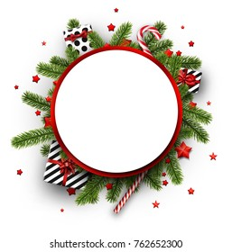 Round Christmas background with fir branches, gifts and candy. Vector top view illustration.
