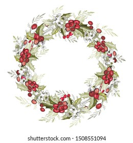 Round Christmas garland with holly branches, berries, flowers and leaves on white background. For festive season design, advertisement, greeting cards, invitation, posters. Vector illustration.