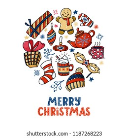 Round Christmas greeting card design with text and doodles - gingerman, teapot, cups, presents, vector illustration isolated on white background. Doodle style Merry Chrismas greeting card design