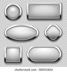 Round chrome button collection on transparent background. Vector metal buttons in form circle, square and oval illustration