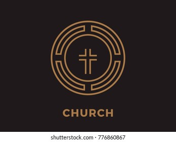 round Church logo with a cross
