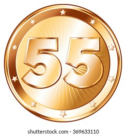 Round / circle shaped metal badge / seal of approval in bronze look and the number fifty-five. A 55 year jubilee celebration icon, 55th anniversary badge.
