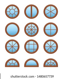Round & circle wooden window. Casement & awning window frames. Flat icon set. Vector illustration. Isolated objects on white background