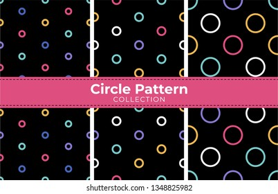Round circles seamless pattern collection. Colorful print design for textile, fabric, fashion, wallpaper, background. Vector eps 10