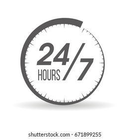 Round the clock, 24/7 service icon, monochrome style, vector