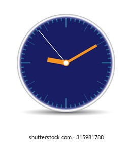 Round clock with blue clock face on isolated white background. Vector illustration
