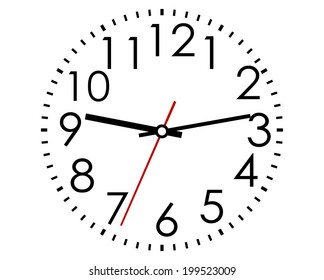 Round clock face with Arabic numerals and hour, minute and second hands in a black and white