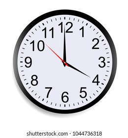 Round clock face showing four o'clock isolated on white background. Vector illustration