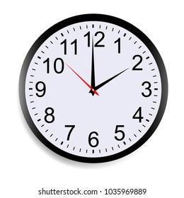 Round clock face showing two o'clock isolated on white background. Vector illustration