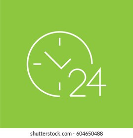 round the clock icon. 24 hours working. Linear style. Isolated vector.