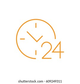 round the clock icon. 24 hours working. Dollar. Linear style. Isolated vector.