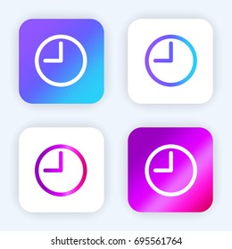 Round clock at nine oclock  bright purple and blue gradient app icon