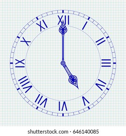Round clock with roman numerals. Five o'clock. Vector illustration on notebook sheet background