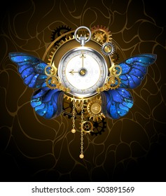 Round clock in style of steampunk with blue morpho butterfly wings with gold Roman numerals, decorated silver and brass gears on dark background.