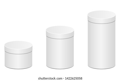 Round closed cardboard box isolated on white background