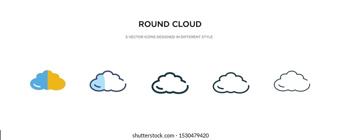 round cloud icon in different style vector illustration. two colored and black round cloud vector icons designed in filled, outline, line and stroke style can be used for web, mobile, ui