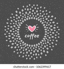 Round coffee beans frame with coffee love composition, doodle style heart and spray, splash, specks, spots, dots seamless texture. Circle shape radial vector background for coffee house, packaging.