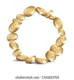 round coins frame - vector golden dollars