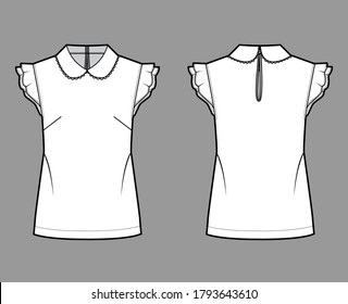 Round collar blouse technical fashion illustration with loose silhouette, flutter sleeve, back button-fastening keyhole. Flat shirt apparel template front back white color. Women, men unisex top CAD