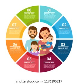 Round color infografic with flat happy family. Vector illustration
