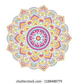 Round color mandala on white isolated background. Vector boho mandala in green and pink colors. Yoga template
