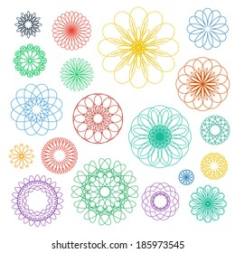 Round color ornament set. Vector spirographs collection