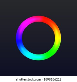 Round color ring with gradient. Circle wheel with colors of rainbow vector illustration. Spectrum frame of red, blue, yellow, green, pink on black background. Graphic calibration.
