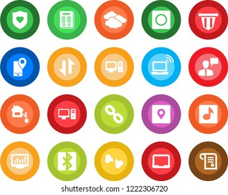 Round color solid flat icon set - wireless notebook vector, clouds, speaking man, pennant, pc, heart shield, broken bone, mobile tracking, chain, record, data exchange, bluetooth, place tag, music