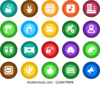 Round color solid flat icon set - fence vector, airport building, seedling, glove, blood test vial, route, navigation, satellite, scanner, music, application, paper binder, water supply, office