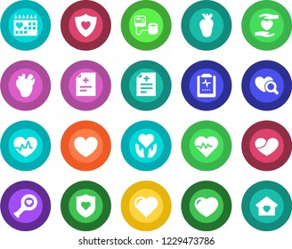 Round color solid flat icon set - heart vector, pulse, diagnosis, blood pressure, diagnostic, shield, hand, real, medical calendar, clipboard, sweet home