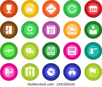 Round color solid flat icon set - arrival vector, security gate, smoking place, office binder, hose, store, plane, fragile, package, stopwatch, calendar, brightness, pie graph, printer, moving, flag