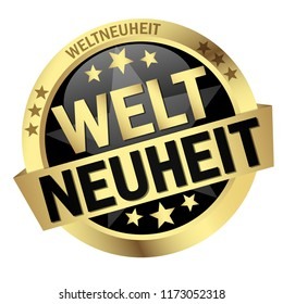 round colored button with banner and text world novelty (in german)