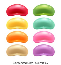 Round colorful jelly beans set. Realistic vector illustration. Good for packaging design.