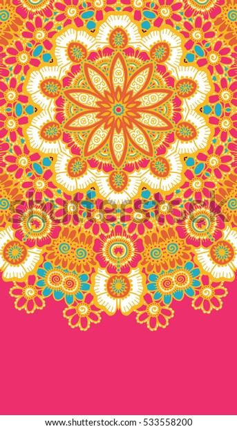 Round colorful mandala design. Creative vector illustration.