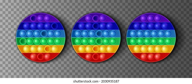 Round colorful Silicone poppit game, trendy toy pop it antistress on a transparent background. Vector illustration