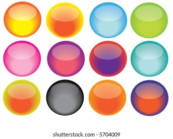 Round Colorful Vector Buttons