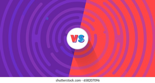 Round comic VS background. Versus vector banner, blue, red color. Abstract rounded lines around the circle with text, comics cartoon style