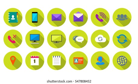 Round Communication Icons Set on lime green background
