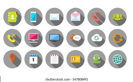 Round Communication Icons Set on grey background