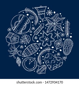Round composition with Christmas tree toys. Hand drawn outline color vector illustration. New Year decorations and plants. White on dark blue background