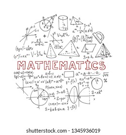 Round composition with hand drawn mathematics formules and other elemets. Science collection. Vector doodlle illustration
