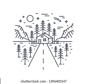 Round composition with highway leading to lodge, house or hut in woodland surrounded by spruce trees and mountains drawn with contour lines. Monochrome vector illustration in modern linear style.