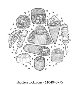 Round Composition with Japanese Food. Template in Hand Drawn Style for Surface Design Fliers Prints Menu. Vector Illustration