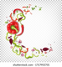 Round composition of red and green bell peppers, chili peppers, garlic, basil, parsley, spices. Top view. Vector 3d illustration isolated on white transparent background.