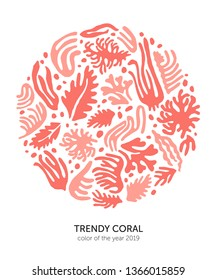 Round concept featuring hand made cutout corals, leaves and seaweed. Vector illustration for print, poster, t-shirt, card, lable etc.