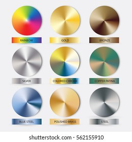 Round cone metal gradients set. Vector illustration for designer. Mesh grid. Gold Silver Bronze Nickel Patina and Rainbow as bonus.