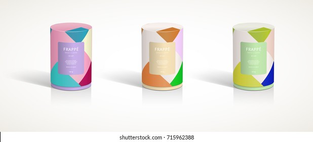 Round container 3D packaging design illustration